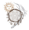 sun dream catcher and deer antler boho style vector image vector image