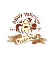 trick or treat retro party logo vector image vector image