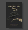tropic banana leaf black and gold banner vector image vector image