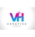 vh v h letter logo with shattered broken blue vector image
