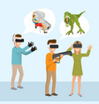 virtual reality man with a gun and girl wearing vector image