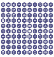 100 construction site icons hexagon purple vector image vector image