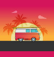 a retro travel car vector image vector image