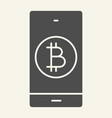 bitcoin digital wallet solid icon bitcoin mobile vector image vector image