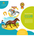 cartoon equestrian club colorful template vector image vector image
