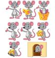 Cartoon funny mouse collection set vector image