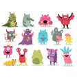 cartoon monsters cute goblins colorful alien vector image