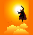 cartoon silhouette of a superhero flying at vector image vector image