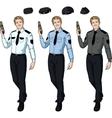 Caucasian male police officer holds taser vector image