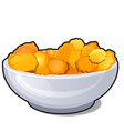 ceramic bowl with corn flakes isolated on white vector image vector image