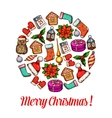 Christmas circle poster with festive sketches vector image vector image
