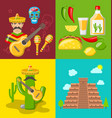 collection banners of mexican icons vector image vector image