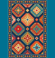 colorful oriental carpet with geometric pattern vector image vector image