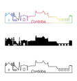 Cordoba skyline linear style with rainbow vector image