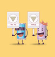 couple of smartphones comic characters vector image