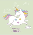cute magic unicon and rainbow poster card vector image