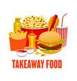 fastfood drinks snacks takeaway street food vector image vector image