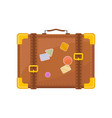 flat icon of retro suitcase with stickers vector image