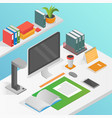 flat isometric workspace work place concept vector image vector image