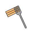 fork with delicious spaghetti isolated icon vector image