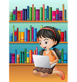 Girl on Laptop vector image vector image