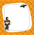 greeting card with cute witch greeting card with vector image vector image