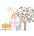 happy couple spends time outdoors vector image