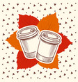 hipster style autumn with coffee and leaves vector image