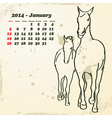 January 2014 hand drawn horse calendar vector image vector image