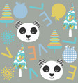 kids panda seamless pattern it is located in vector image vector image