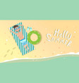 man on summer beach vacation seaside sand tropical vector image