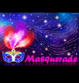 masquerade poster with carnival mask vector image vector image