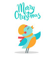 merry christmas bird and title vector image vector image