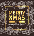 merry christmas trendy greeting card vector image vector image