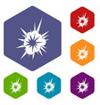 nucleate explosion icons set hexagon vector image vector image