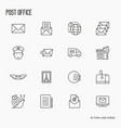 post office related thin line icons set vector image vector image