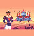 prince in medieval clothes standing next vector image