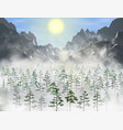 realistic pine and fir forest with a lot vector image vector image