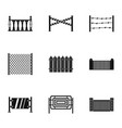 retro fence icons set simple style vector image vector image