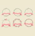 rose hip retro valentines ribbon wreath vector image vector image