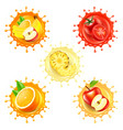 round splashes with fruits 3d realistic set vector image vector image