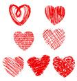 set of cartoon hearts vector image vector image