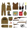 Set of elements for hunting in flat style vector image vector image