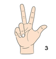 Sign language number 3 vector image vector image