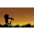 Silhouette of zombie walking Halloween vector image vector image