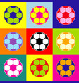soccer ball sign pop-art style colorful vector image