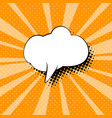 speech bubble on orange pop art background vector image
