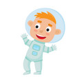 standing astronaut kid isolated on white vector image vector image