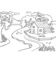 summer landscape coloring book vector image