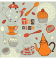 Tea and sweets vector image vector image